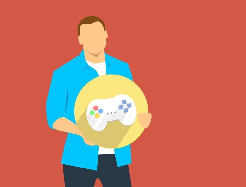 Ein animierter Mann hält ein gelbes Schild hoch, auf dem ein Controller abgebildet ist.