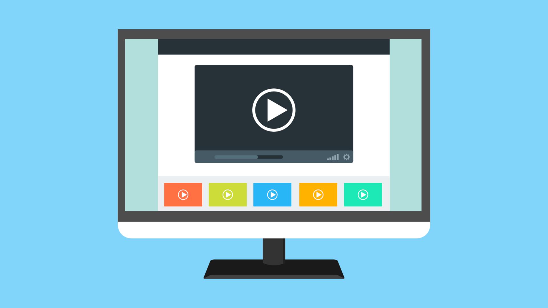 Ein animierter Bildschirm mit sechs Videoplayern.