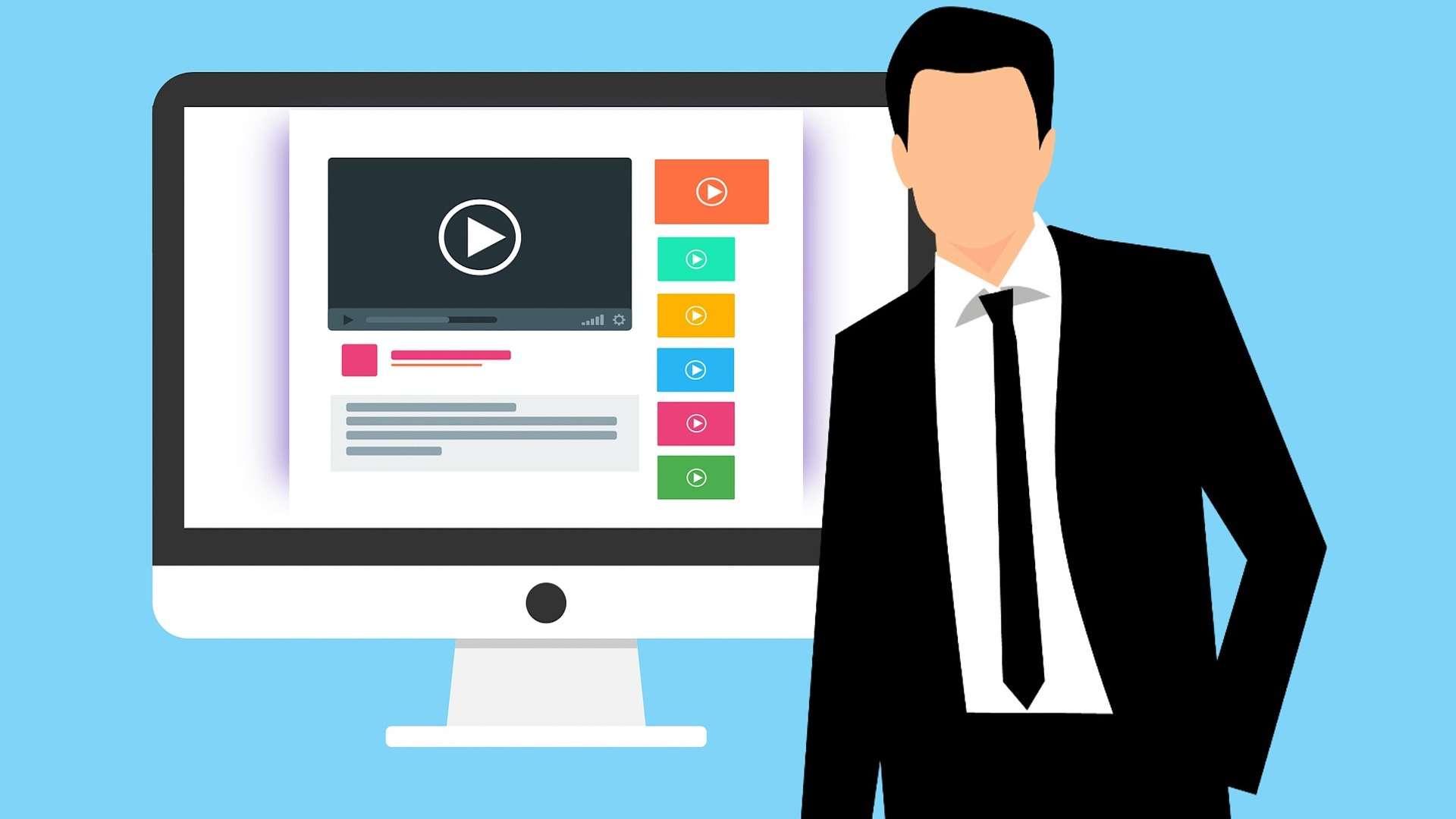 Ein animierter Desktop-Bildschirm hat verschiedene Videos geöffnet und ein animierter Mann ohne Gesicht steht davor