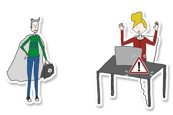 Zeichnung von einem IT-Experte mit Cape und einer Frau die ein Problem mit ihrem Laptop hat