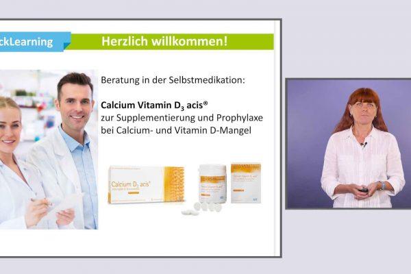 Auf dem ersten Bild sieht man zwei Apotheker und eine Beschreibung zu dem Vitamin D3 welche durch Bilder unterstützt wird und auf dem zweiten Bild sieht man eine Frau die eine weiße Bluse trägt