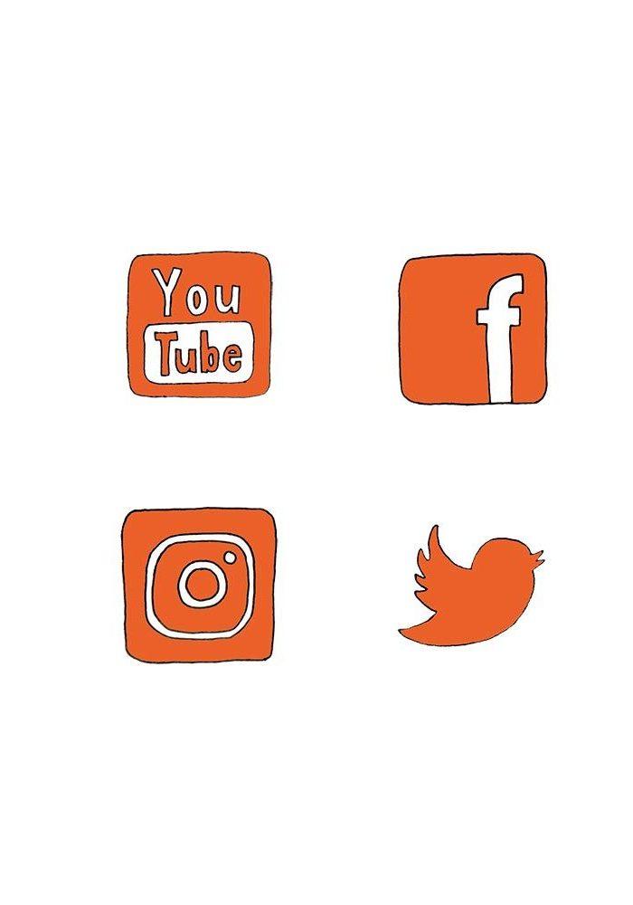 Zeichnung von den Social Media Icons YouTube, Facebook, Instagram und Twitter