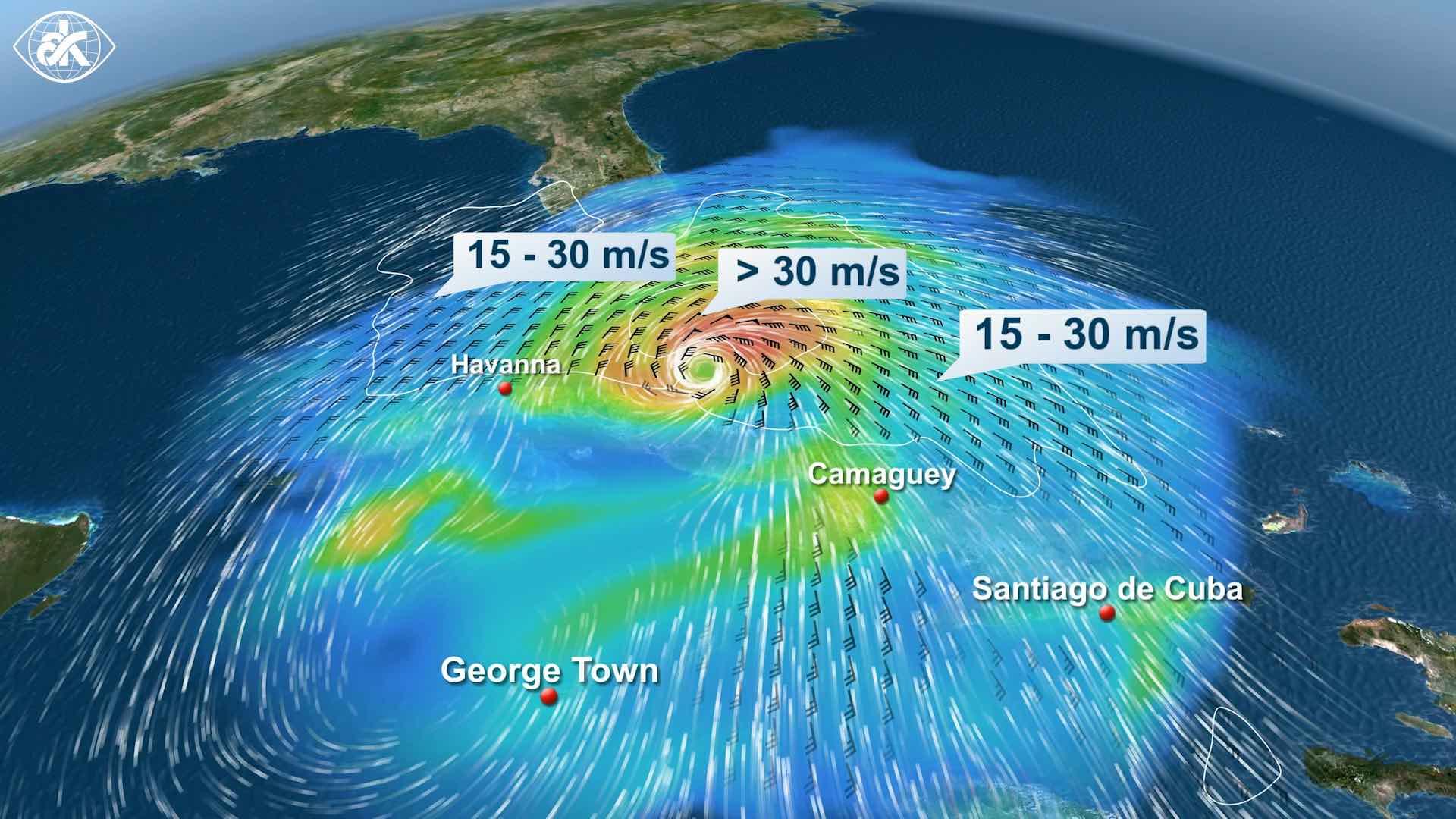 eine Wetterkarte von Kuba die verschiedene Wettersymbole zeigt