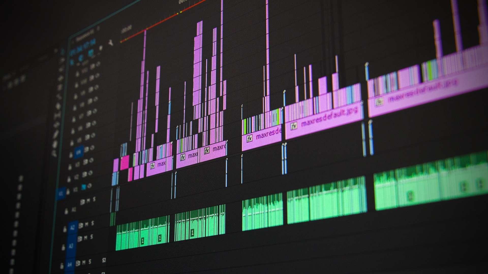 Seitlicher Ausschnitt aus einem Videoschnittprogramm-Projekt