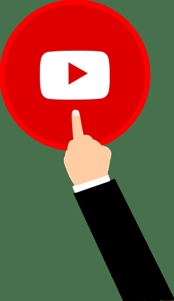 Eine animierte Hand drückt auf einen YouTube Play-Button.