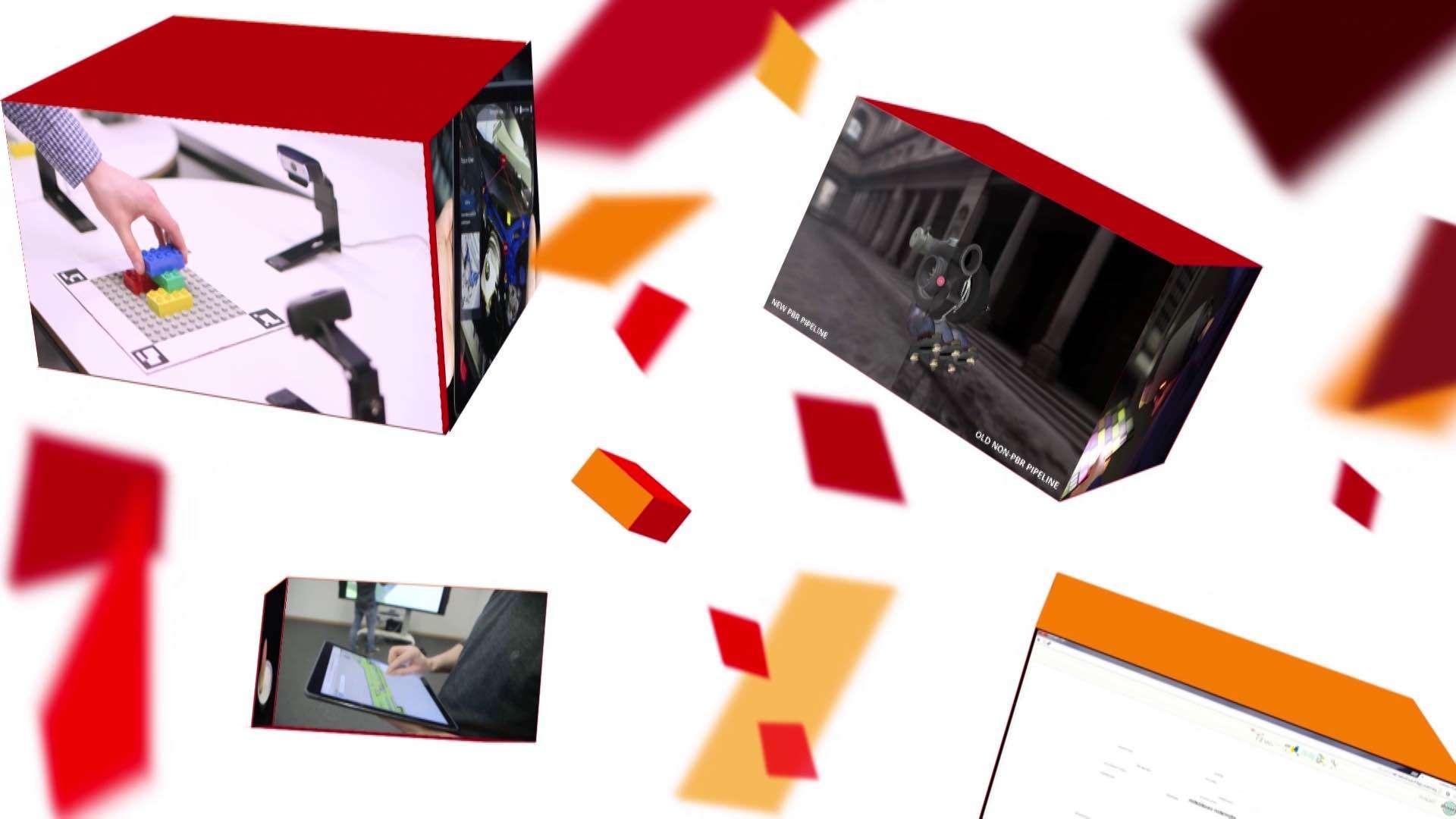 Mehrere farbige Boxen zeigen Bildausschnitte aus einem Erklärfilm