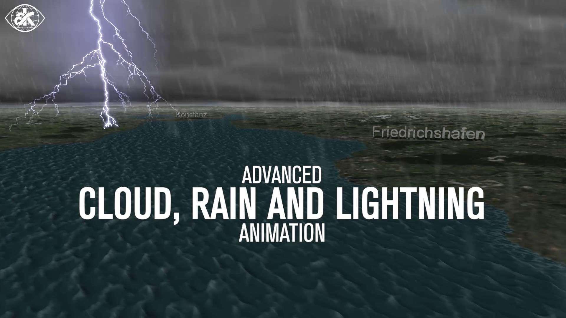 Animierter Kartenausschnitt zeigt einen Teil des Bodensees und der Städte Friedrichshafen und Konstanz bei einem Gewitter