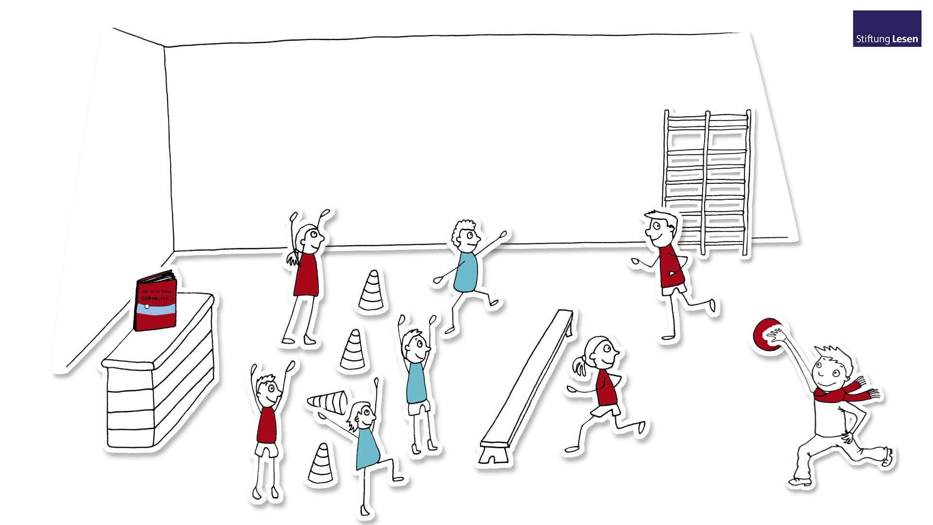 Zeichnung von einer Gruppe von Kindern die in einer Turnhalle mit einem Ball spielen