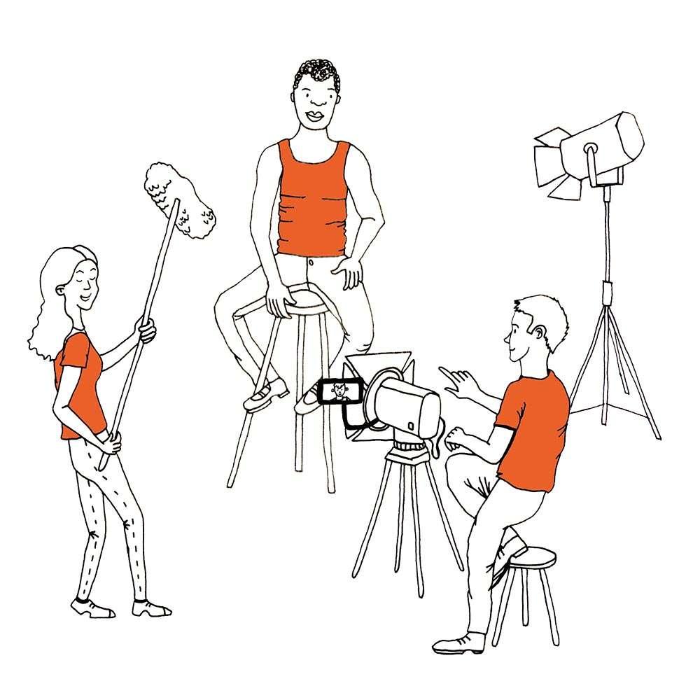 Zeichnung von drei Menschen die mit verschiedenem Equipment ein Video drehen