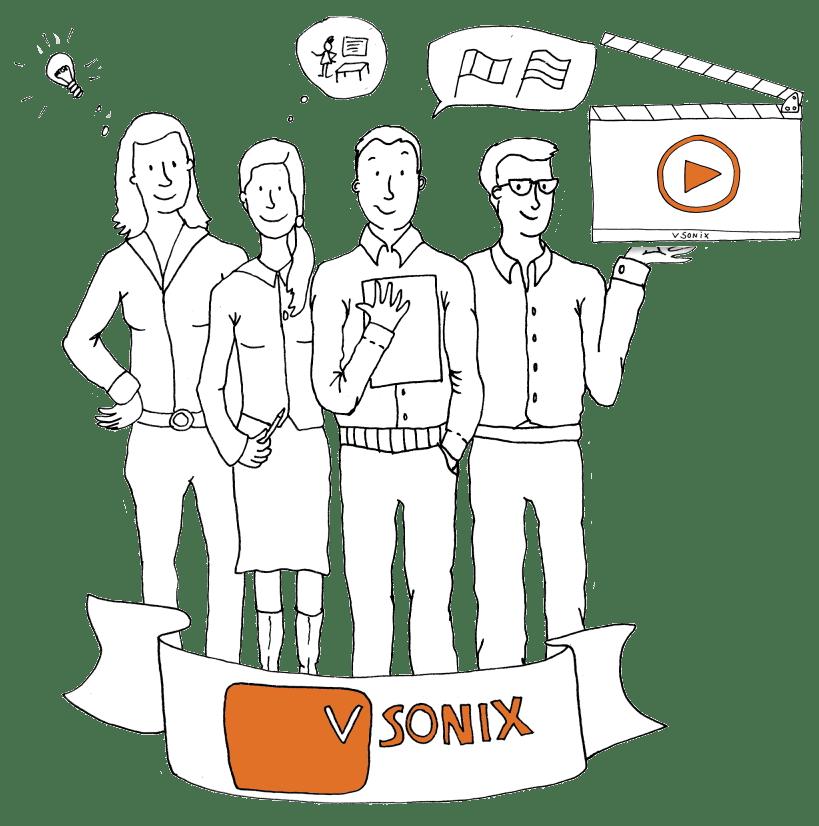 Zeichnung von vier vsonix Mitarbeitern mit Videosymbolen