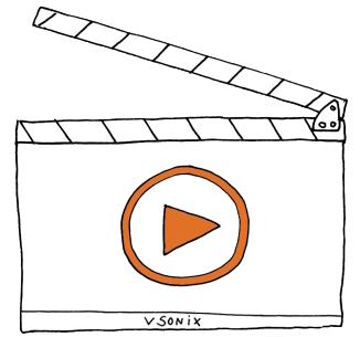 Eine Zeichnung von einer Filmklappe mit dem vsonix-Logo